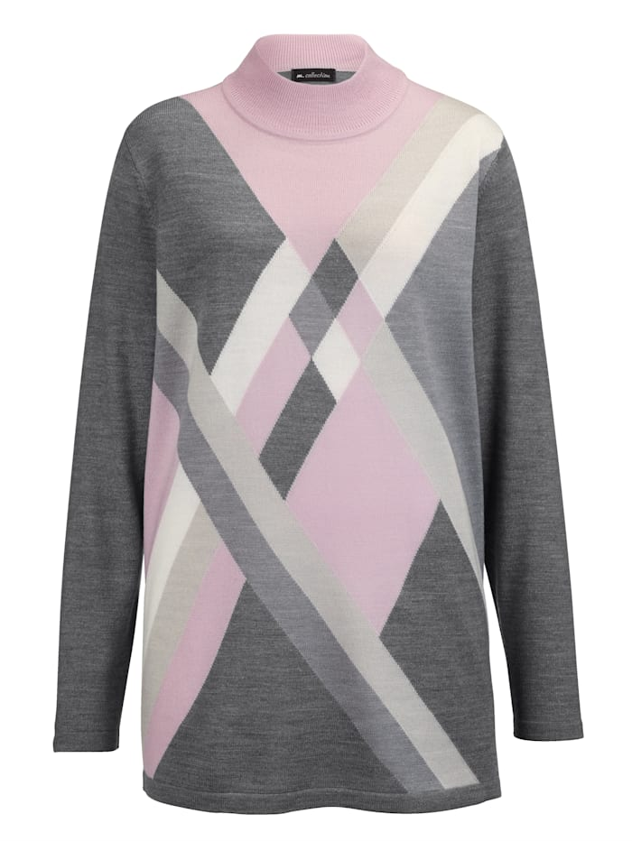 Pullover mit kontrastfarbenem Rautenstrick-Muster