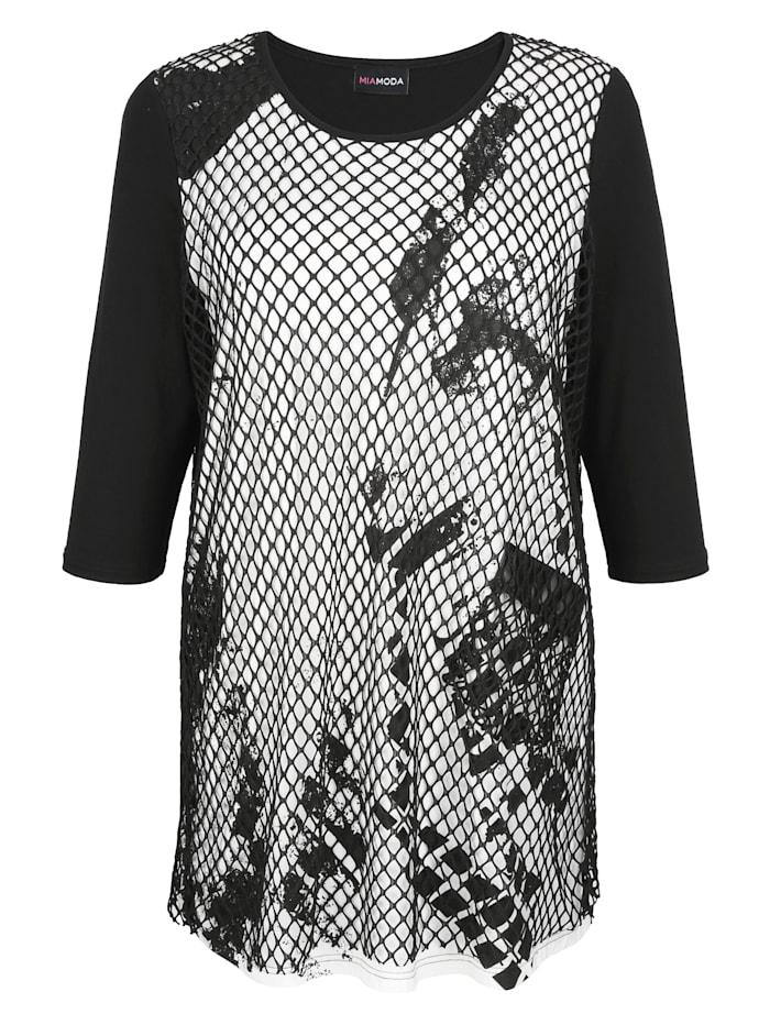 MIAMODA Longshirt Met laag van mesh, Zwart/Wit