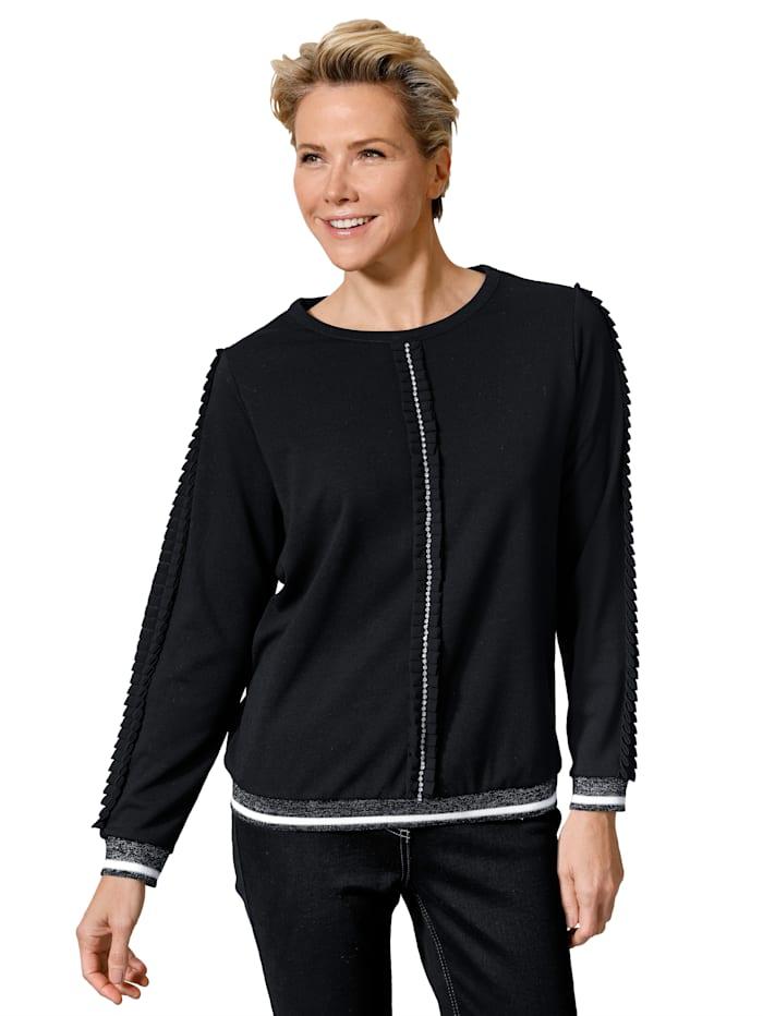 Sweatshirt med trendiga ryschband