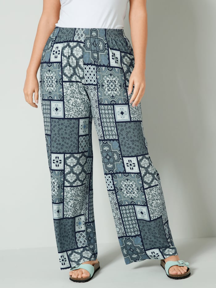 Janet & Joyce Žerzej kalhoty s celoplošným grafickým vzorem, Šalvějová zelená/Mátová
