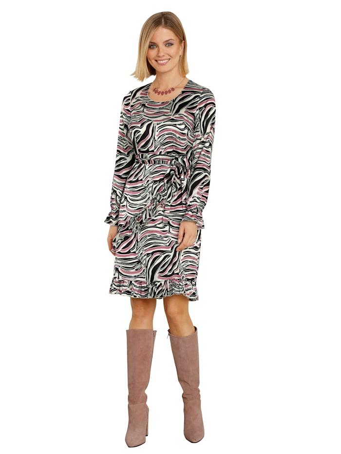 AMY VERMONT Kleid in Wickeloptik mit Rüschendeko, Schwarz/Off-white