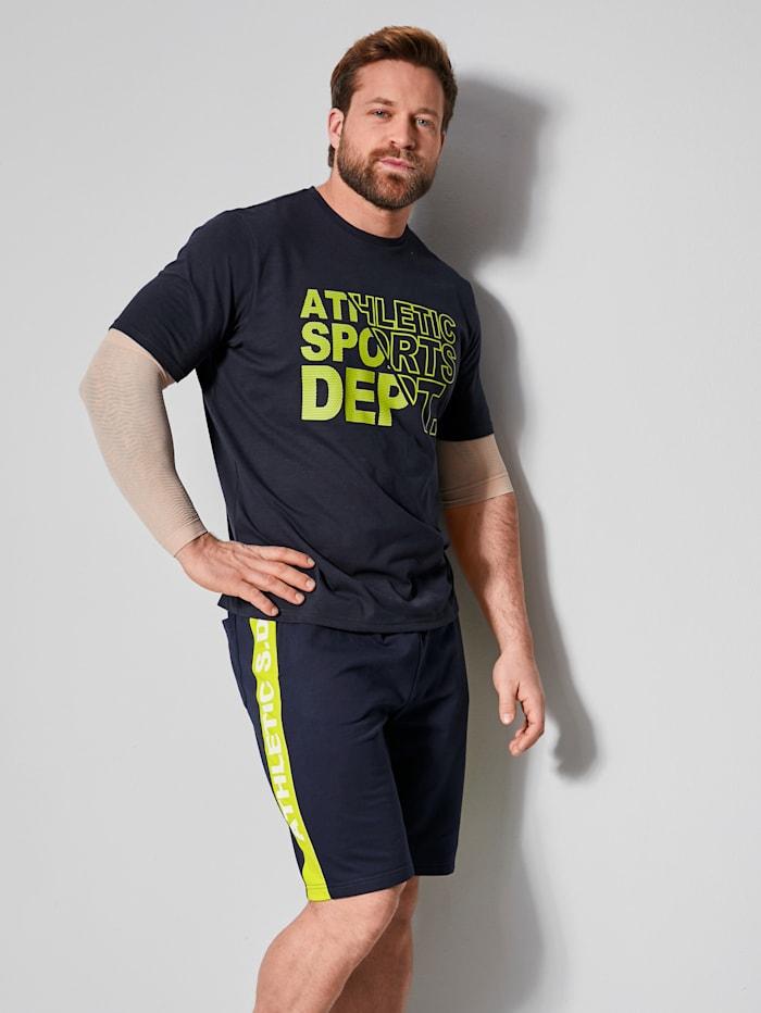 Men Plus T-Shirt mit platziertem Druck, Marineblau/Neongelb