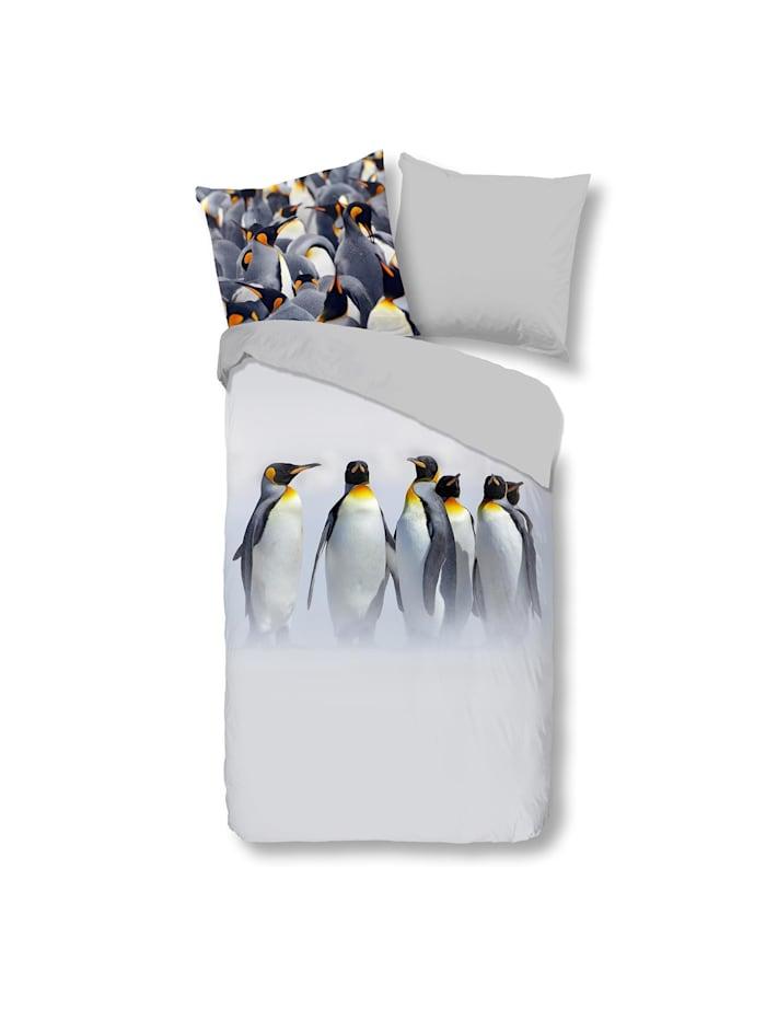 Traumschlaf Flanell Bettwäsche Pinguine, grau