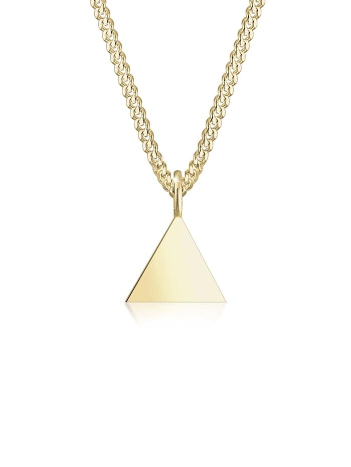 Elli Premium Halskette Dreieck Anhänger Geo Panzerkette 375Er Gelbgold, Gold