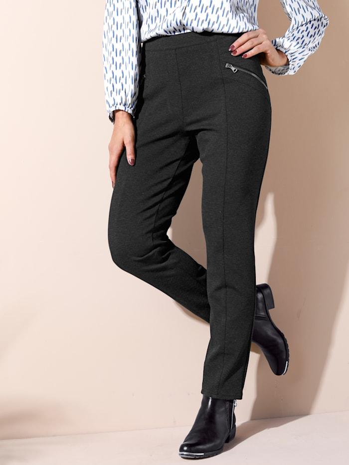 MIAMODA Broek van hoogwaardige, elastische jersey, Antraciet