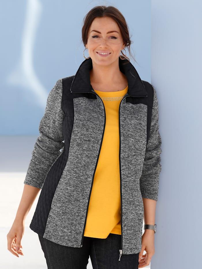 m. collection Fleece vest met contrastkleurige afwerking, Zwart/Grijs