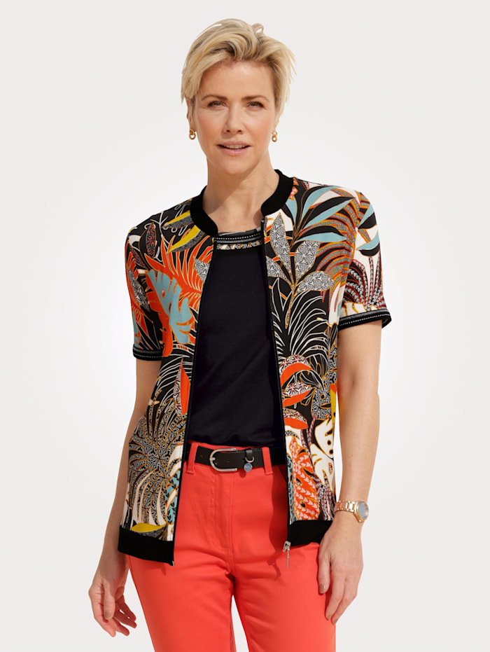 MONA Jacket with a bold print, Orange/Black/Turquoise