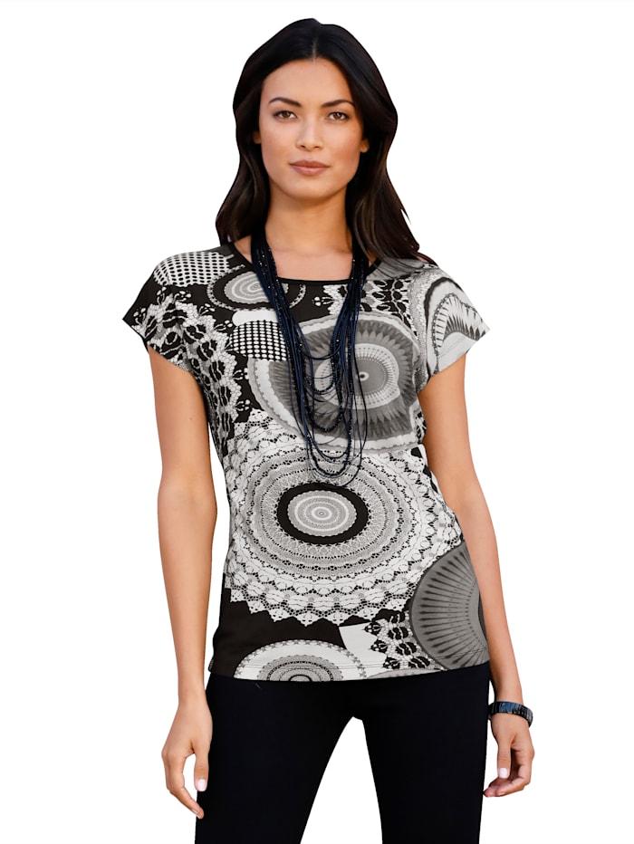 AMY VERMONT T-shirt à motif graphique, Gris/Noir