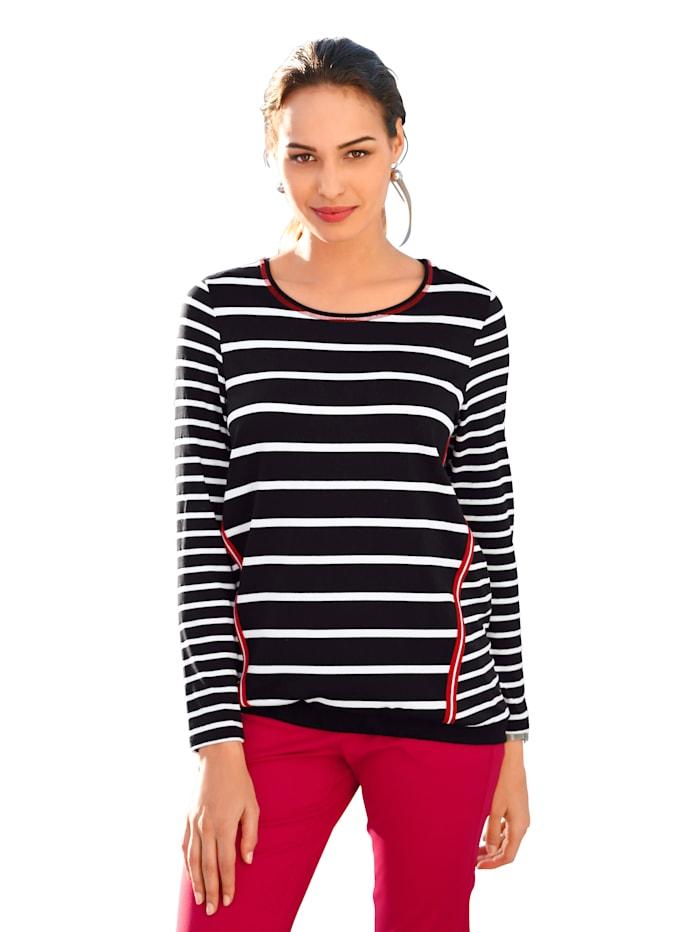 AMY VERMONT Shirt im Streifendessin, Schwarz/Weiß/Rot