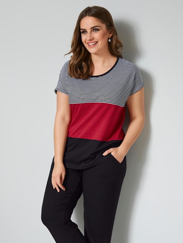 Janet & Joyce Shirt in Streifenoptik, Schwarz/Weiß/Rot
