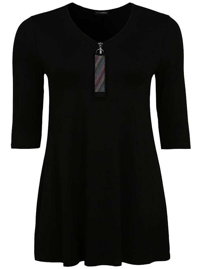 Doris Streich Tunika mit Reißverschluss-Ausschnitt, schwarz