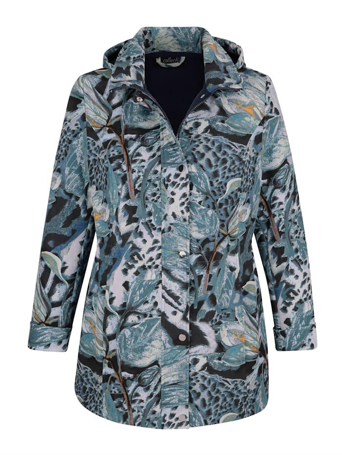 m. collection Softshell jas met bloemendessin, Marine/Groen/Okergeel