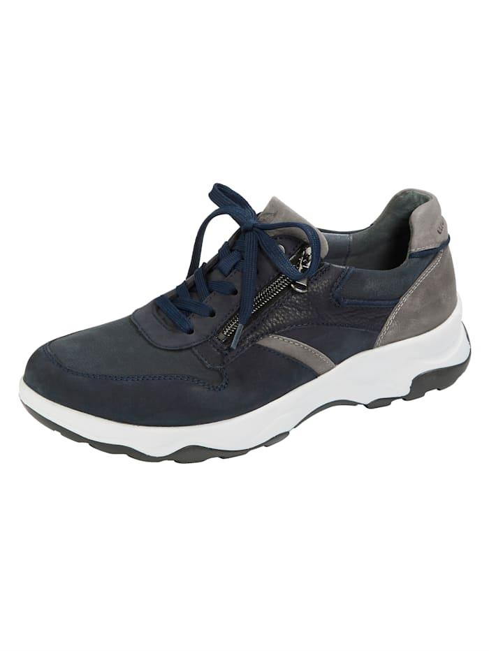 Waldläufer Schnürschuh mit zusätzlichem Reißverschluss, Marineblau/Grau