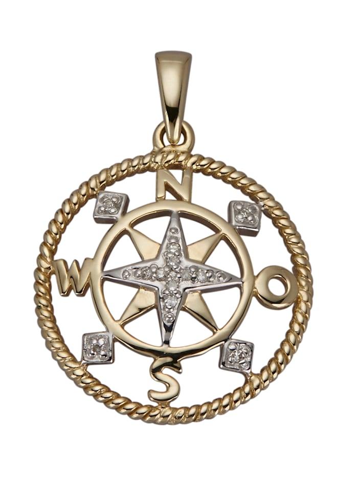 AMY VERMONT Hanger Kompas met diamanten, Geelgoudkleur