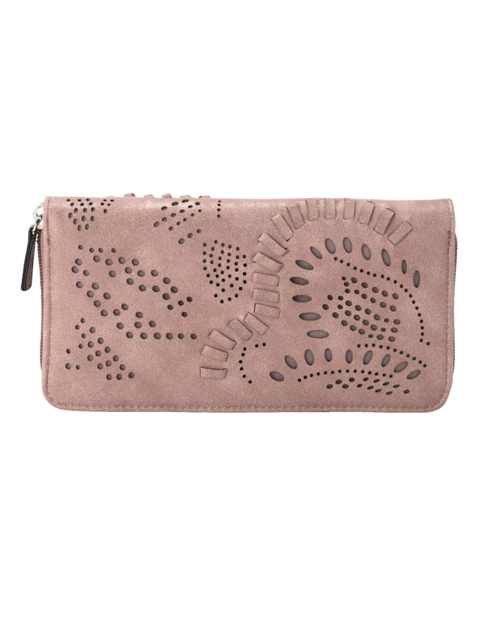 Taschenherz Geldbörse mit floraler Perforation, Rosé