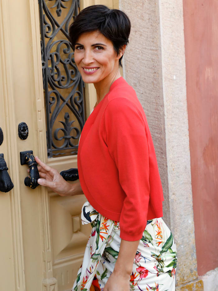 Paola Boléro en maille de coupe ouverte, Corail