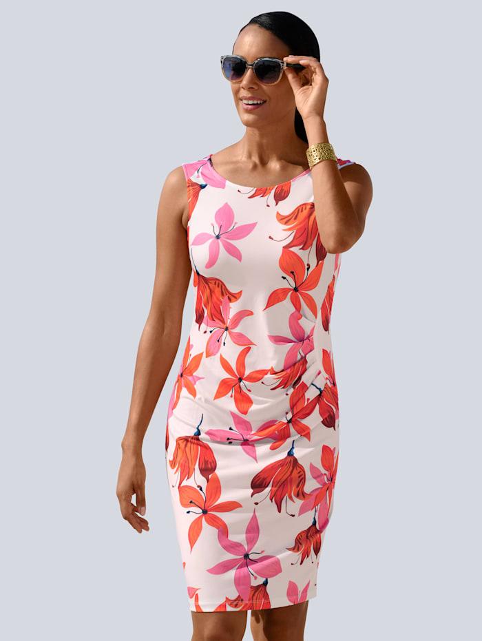 Alba Moda Strandkleid mit attraktivem Blütendruck, Weiß