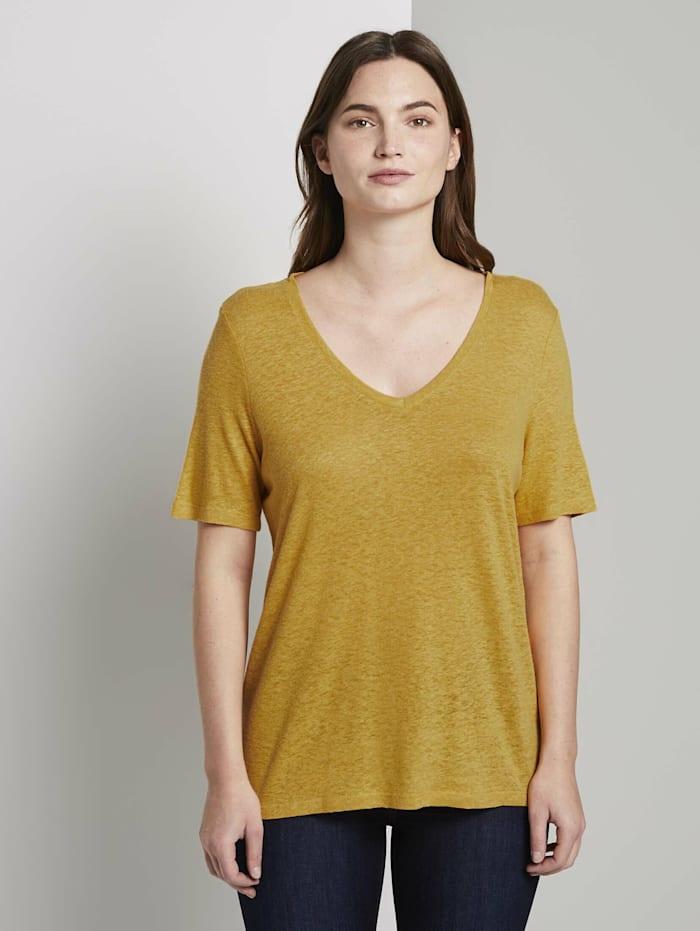 Tom Tailor mine to five Leinen T-Shirt mit V-Ausschnitt, Golden Corn