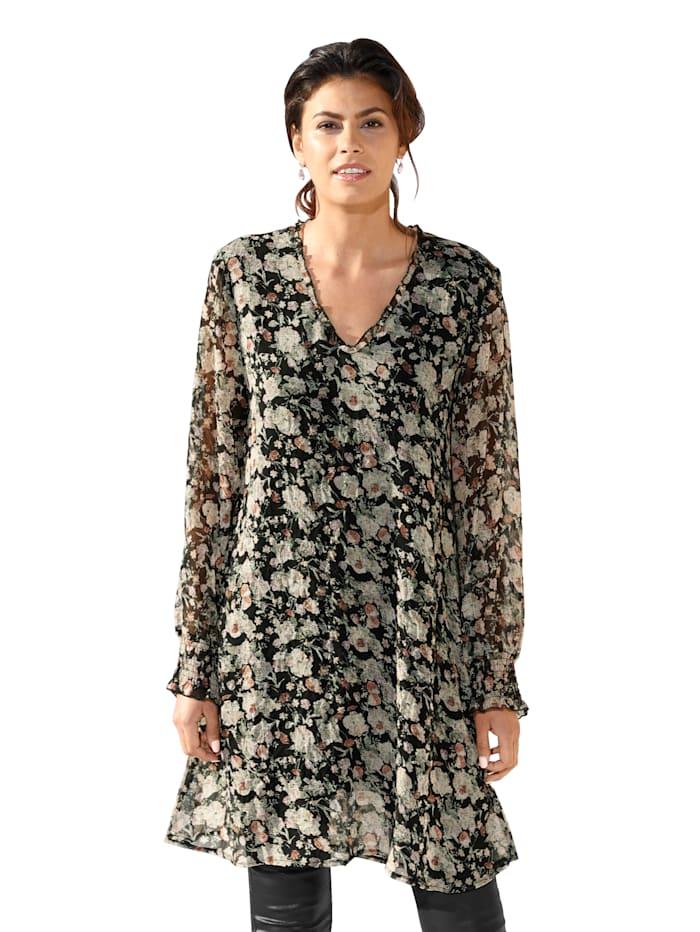 Cream Lange blouse met bloemenprint allover, Zwart/Roze
