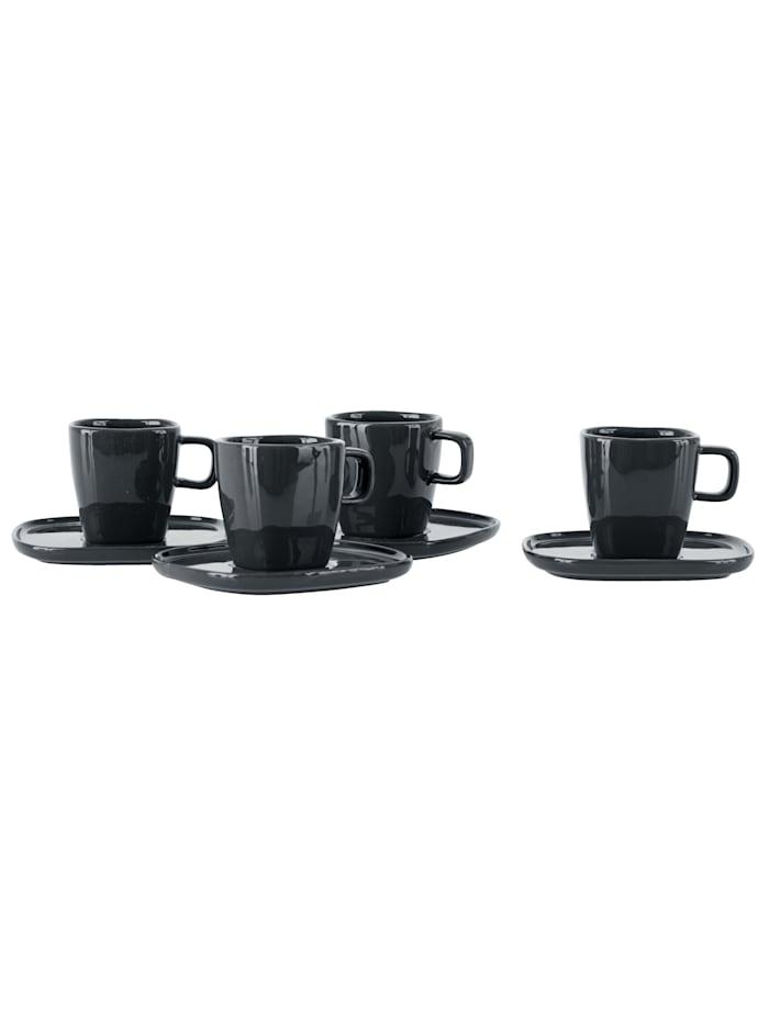 Espressotassen mit Untertassen, 8-tlg.