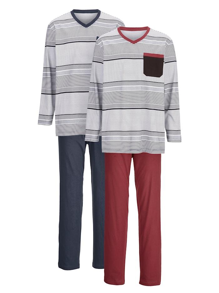 Pyjama 2 stuks, 1x bordeaux, 1x marine