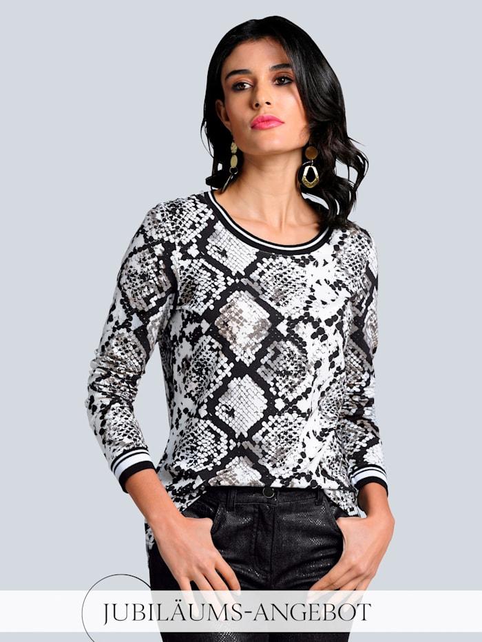 Alba Moda Shirt im exklusiven Dessin von Alba Moda, Off-white/Schwarz