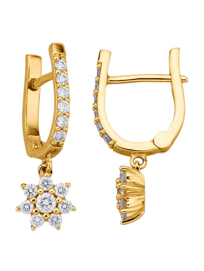Amara Diamants Boucles d'oreilles avec brillants, Coloris or jaune