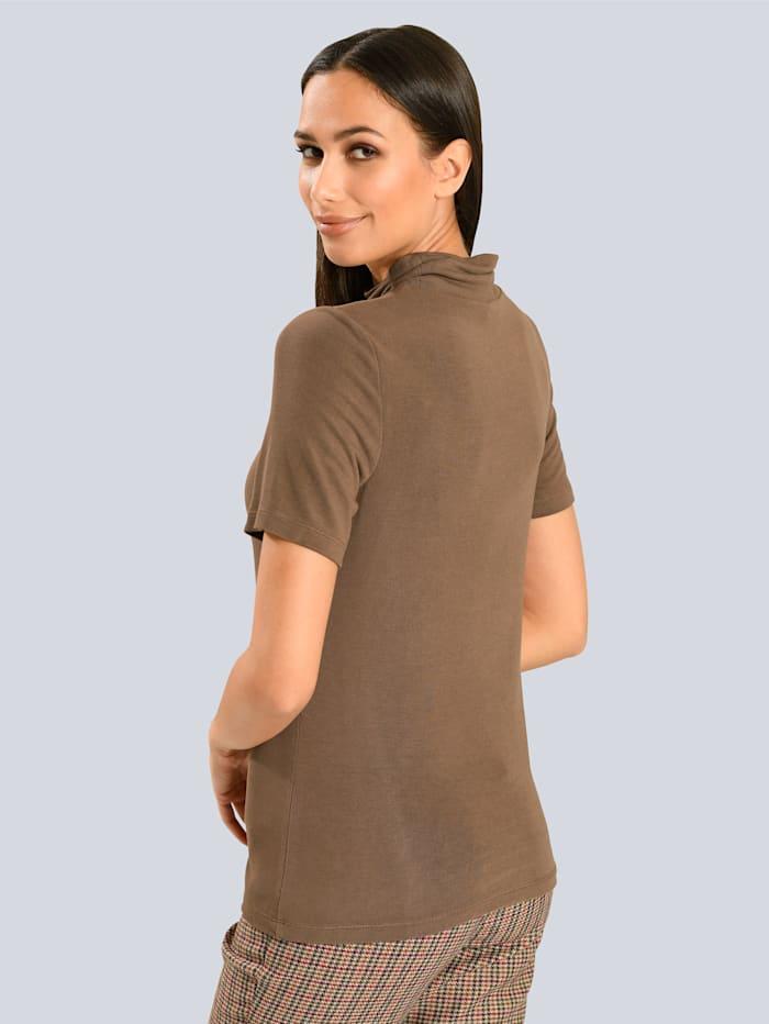 Shirt mit kleinem, gerafftem Stehkragen