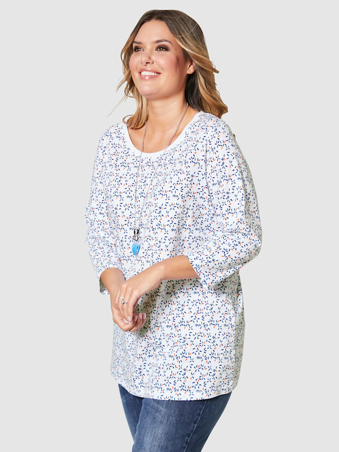 Janet & Joyce Shirt met modieuze minimalprint, Wit/Royal blue/Oranje
