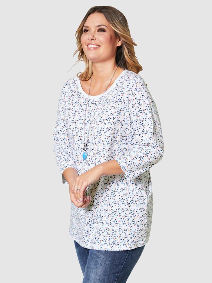 Janet & Joyce Shirt mit Minimal Druckmuster, Weiß/Royalblau/Orange