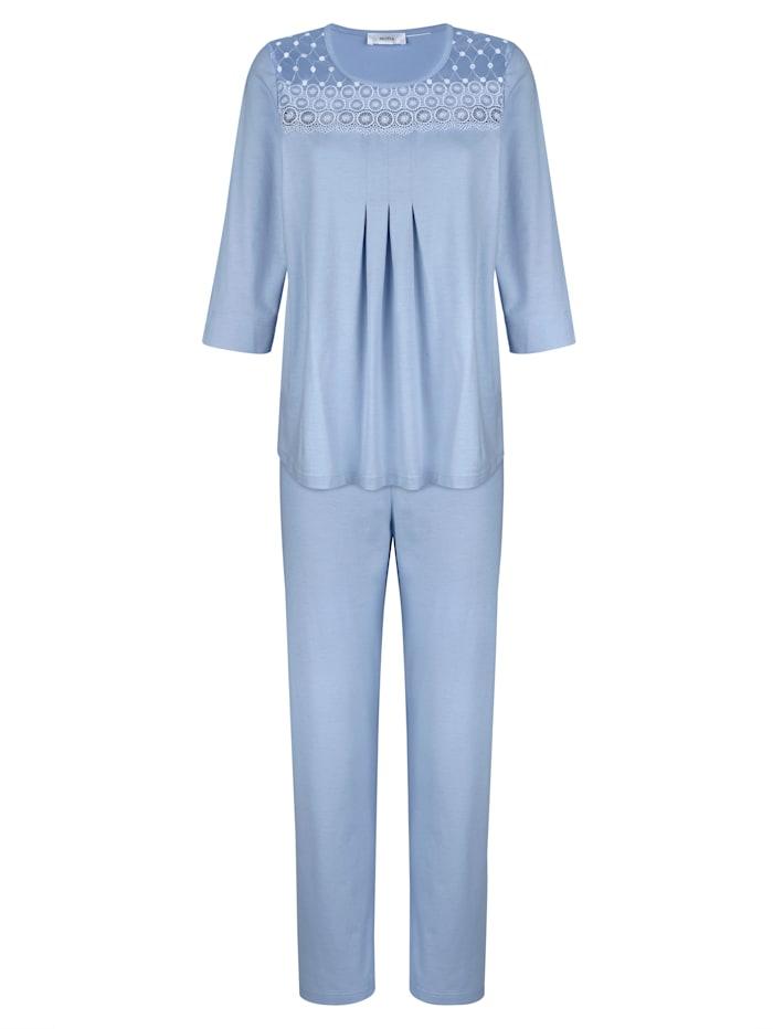 MONA Schlafanzug Mit weich fließenden Falten im Vorderteil, Hellblau