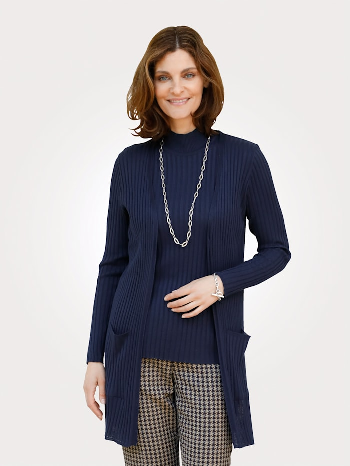MONA Cardigan in a ribbed finish, Navy