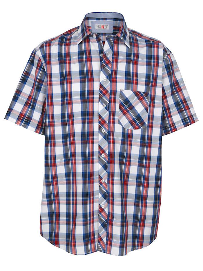 Roger Kent Overhemd met ingeweven ruitpatroon, Marine/Rood