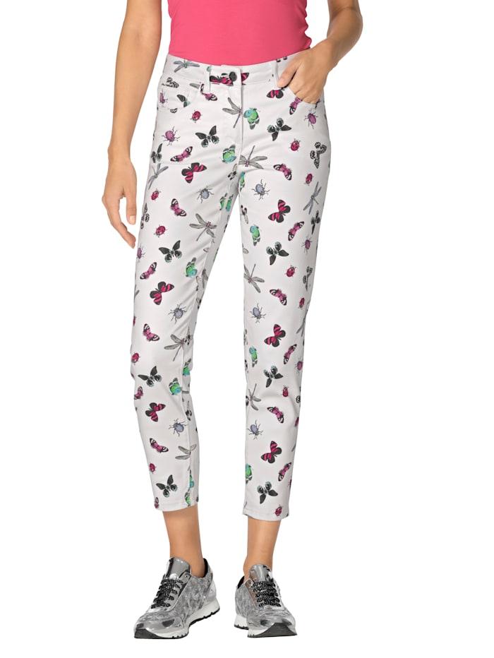 AMY VERMONT Jeans met vlinderdessin, Wit/Pink/Blauw/Groen