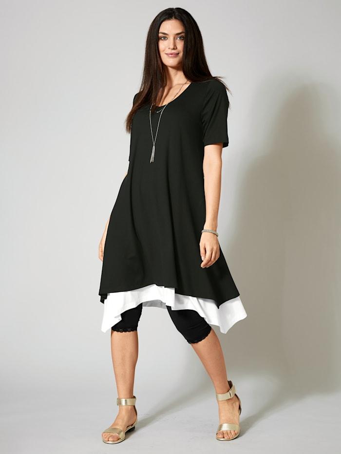 Sara Lindholm 2-in-1-Jersey-Kleid mit Zipfelsaum, Schwarz