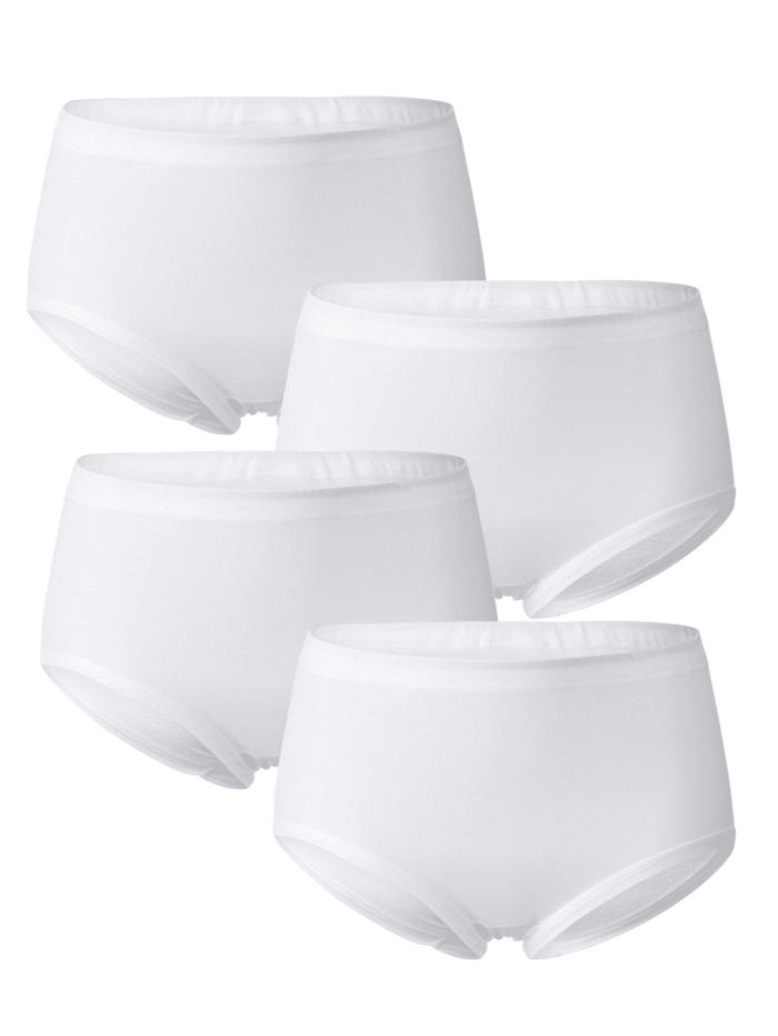 Viania Taillenslips im 4er Pack mit weichen Beinabschlüssen, Weiß