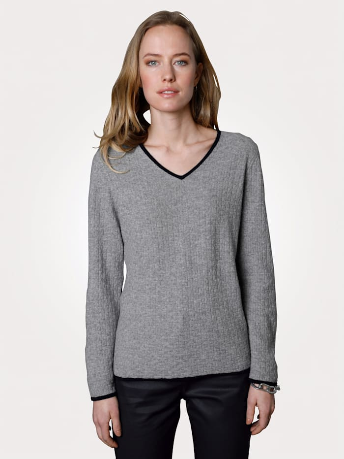 MONA Kaschmir-Pullover mit dezentem Strukturstrick, Grau