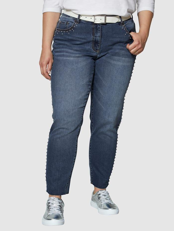 Angel of Style Jeans met klinknageltjes, Blue stone