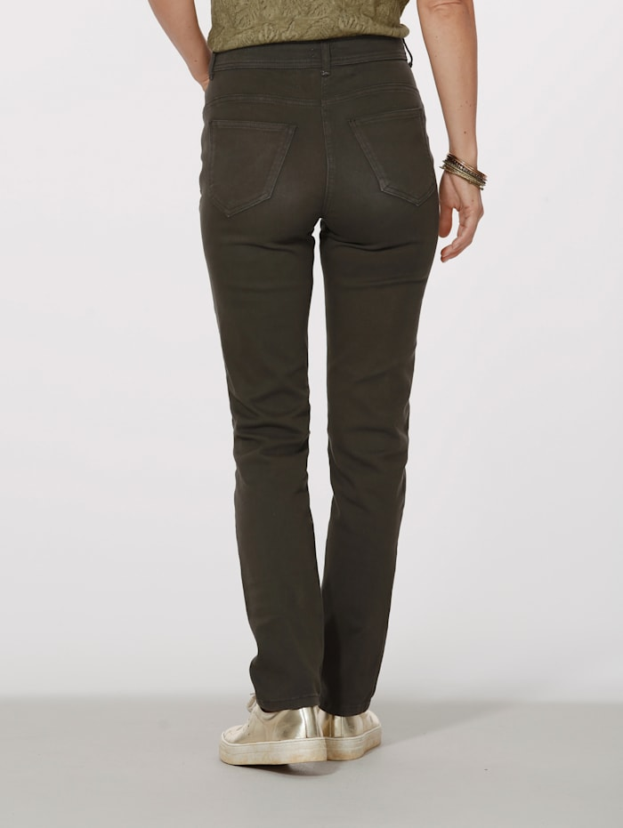 Trousers with beaded embellishments