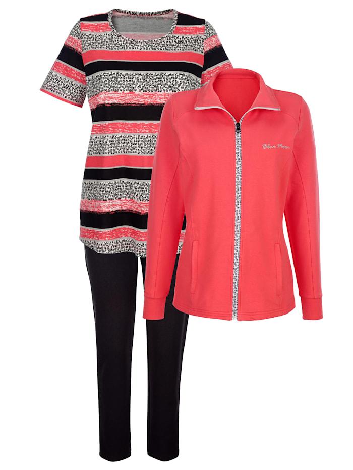 Blue Moon Sport. oblečení se sportovní výšivkou, Korálová/Černá/Ecru