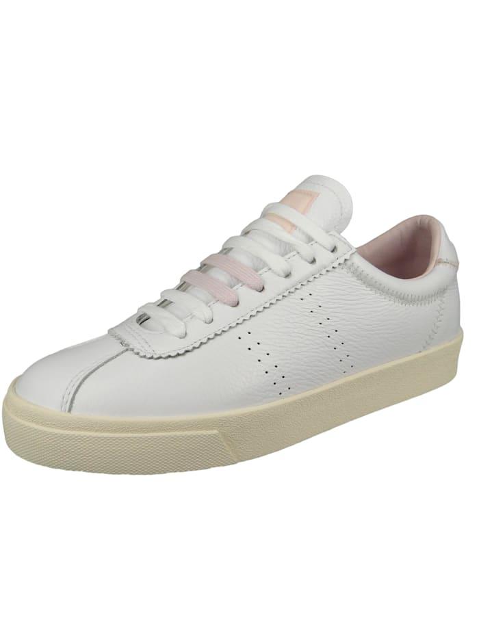 Superga Damenschuhe-Sneaker S111WSW 2869 Club S Comfleau ZIGZAG Leder weiß A25 White Pale Lilac, A25 White Pale Lilac