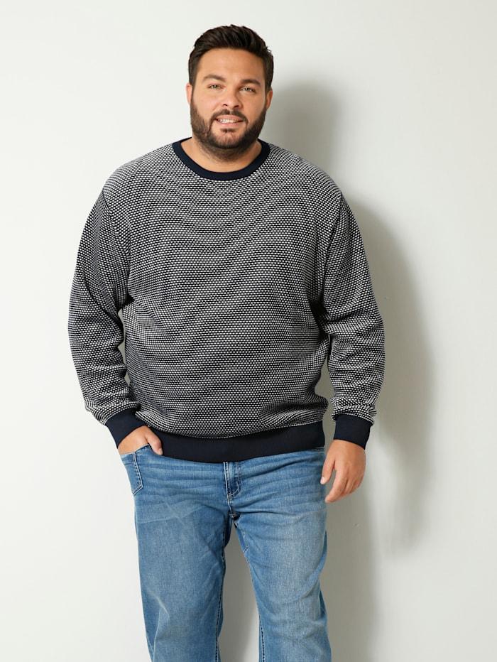 Men Plus Pullover mit aufwendigem Strukturstrick, Marineblau/Off-white