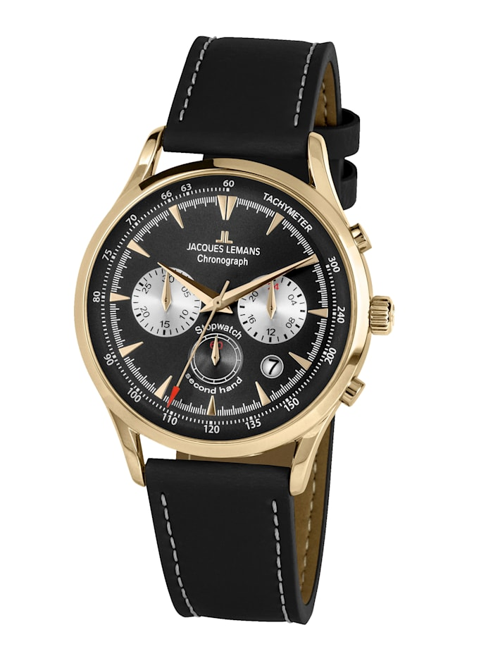 Jacques Lemans Herren-Uhr Chronograph Serie: Retro Classic, Kollektion: Retro Classic: 1- 2068I, Schwarz