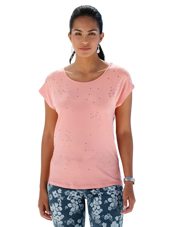 AMY VERMONT Shirt met strassteentjes, Roze