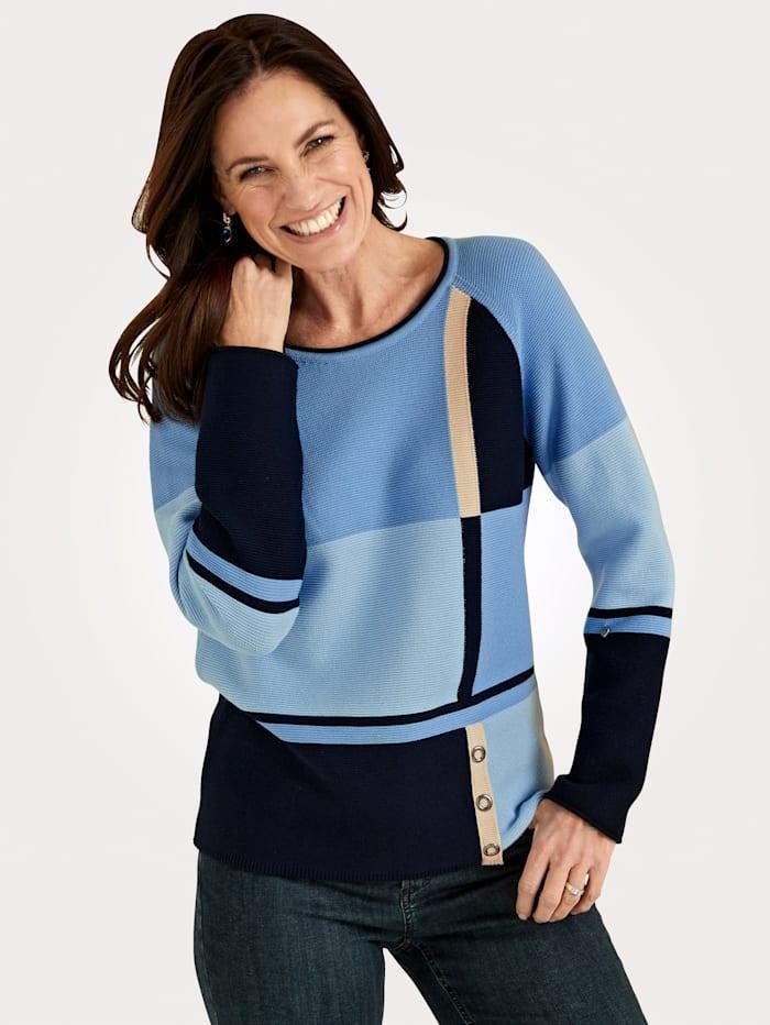 Rabe Pullover mit Intarsienmuster, Hellblau/Marineblau