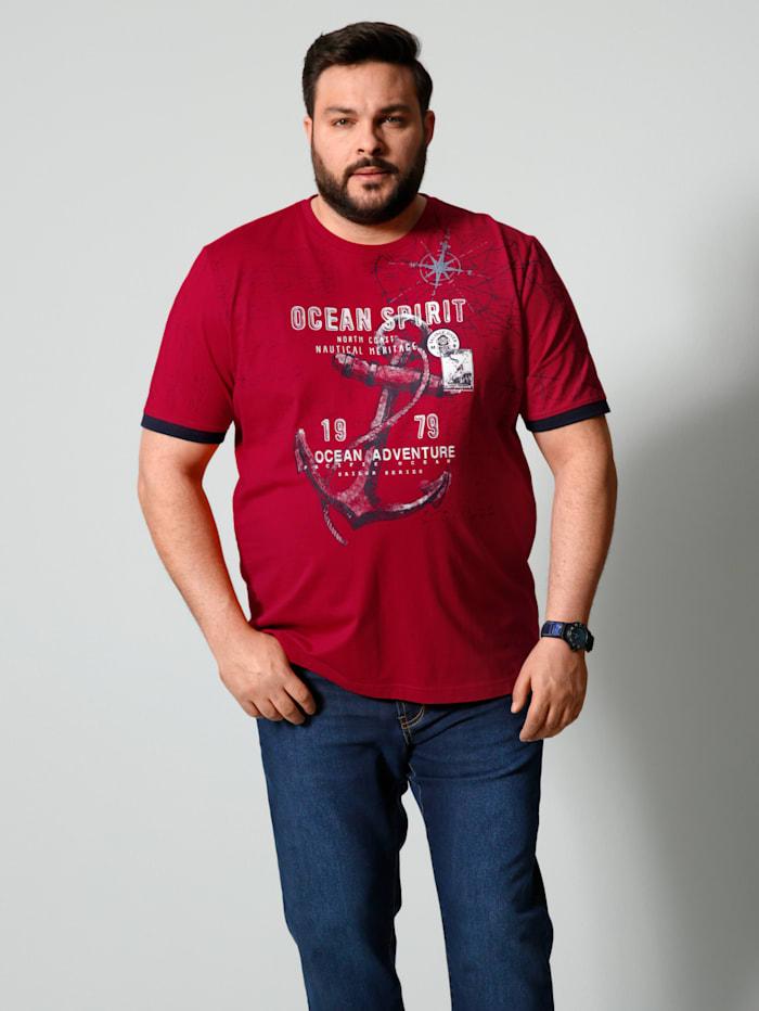 Men Plus T-shirt van zuiver katoen, Rood/Marine/Wit