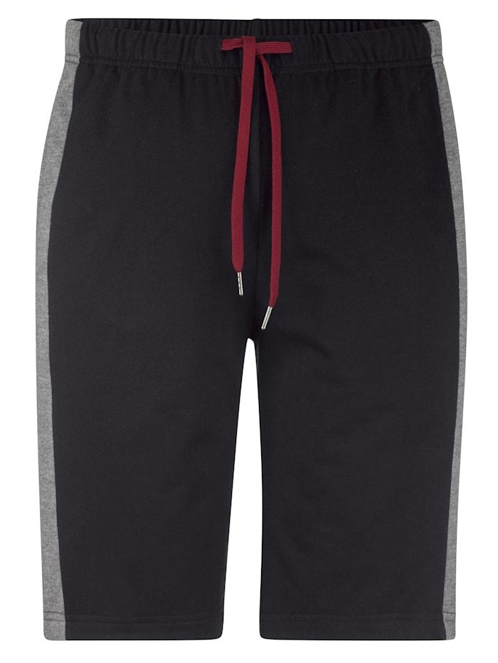 Men Plus Joggingbroek met elastische band, Zwart/Bordeaux/Grijs