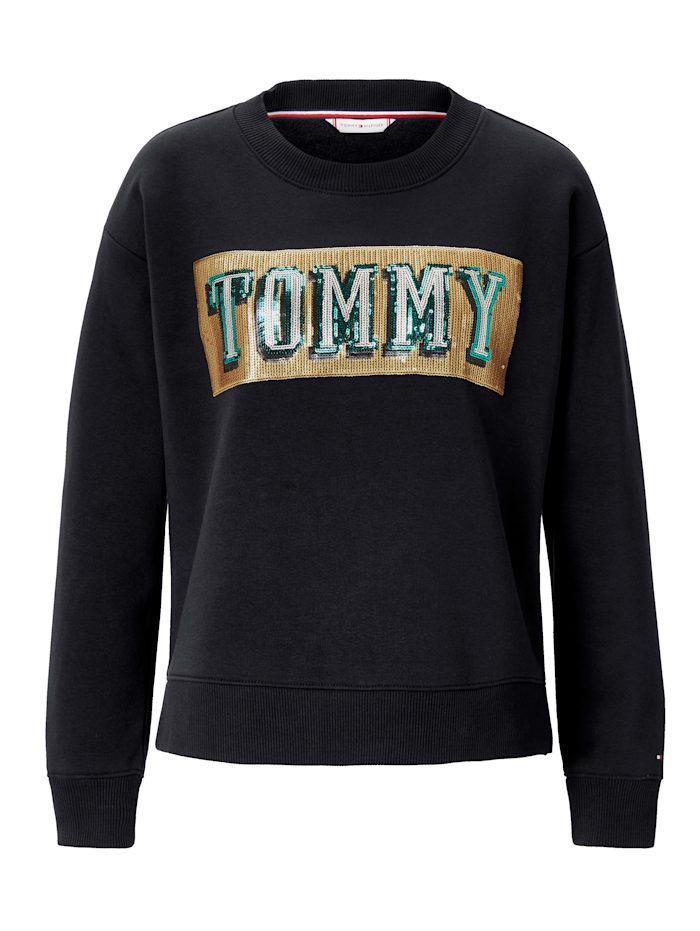 TOMMY HILFIGER Sweatshirt mit Paillettenstickerei, Schwarz