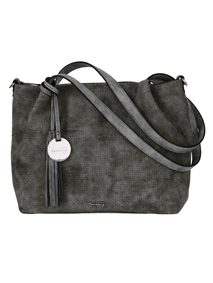 Taschenherz Handbag made from an embossed fabric 2-piece, Grey
