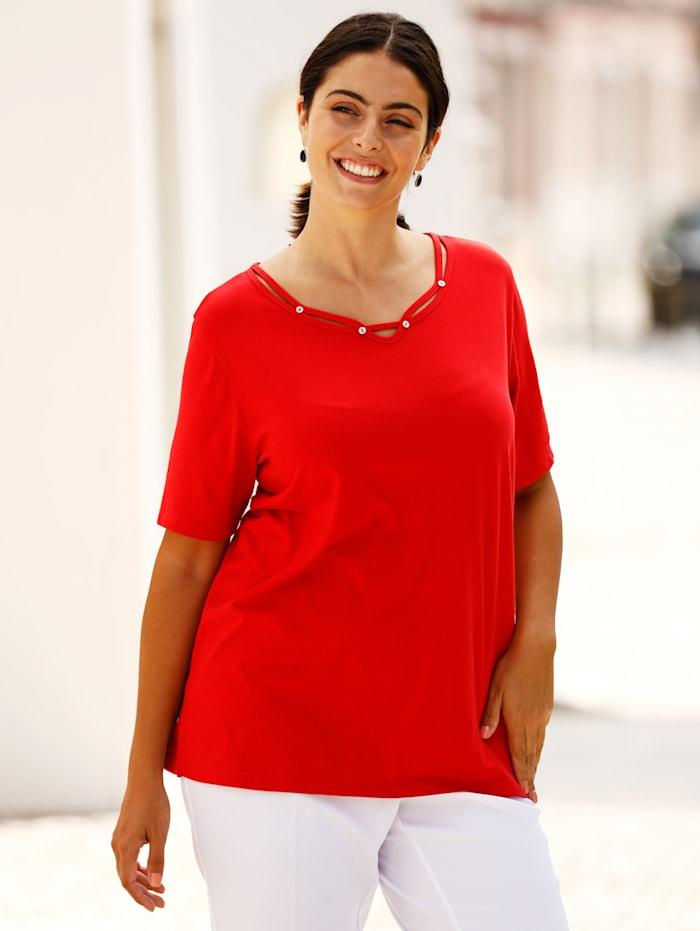m. collection Shirt met bandjesversiering aan de hals, Rood